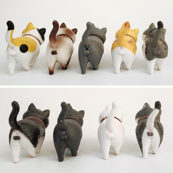 1Pcs Cute Mini PVC Animal Miniatures Japanese Bell Cat Doll Figures Toy Creative Handicraft Ornaments Home Decoration Crafts 1