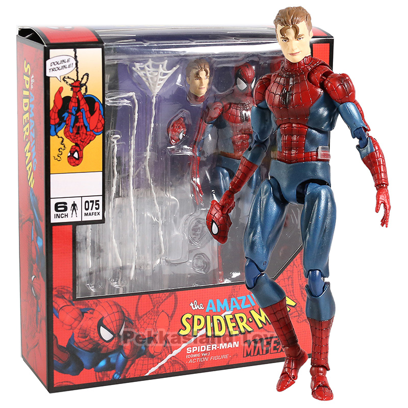 Avengers Spiderman MAF075 The Amazing Spider Man PVC Action Figure Collectible Model Kids Toys Gift