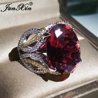 Luxury Big Red Stone Oval Rings For Women 925 Silver Color Vintage Large Crystal Zircon Wedding Bands Engagement Ring Jewelry CZ