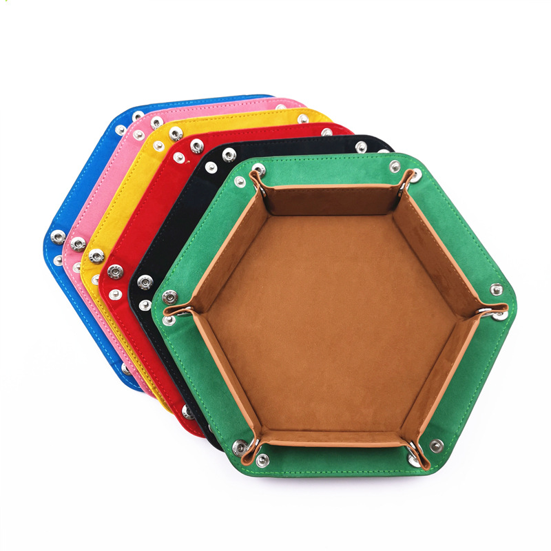 PU Leather Velvet Folding Hexagon Dice Tray Collapsible Rolling Board Game Storage Box Home Sundries Storage Tray 17.5cm