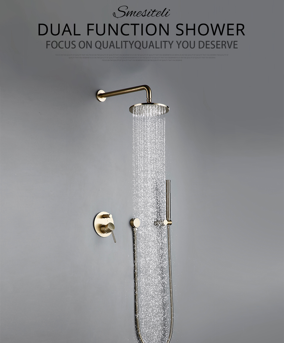 """Hab0158c114db41f8a3a5746df411cfe5V Bathroom Bath Faucet Brass Diverter Mixer Tap Set Brushed Gold Rain Fall Valve System Kit Hand held 8-12""""Shower Head Wall Arm"""