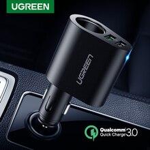 Ugreen 자동차 충전기 어댑터 60 w 듀얼 usb 빠른 3.0 충전 usb 충전기 아이폰 x 8 삼성 갤럭시 s9 s8 lg v20 usb 자동차 충전기