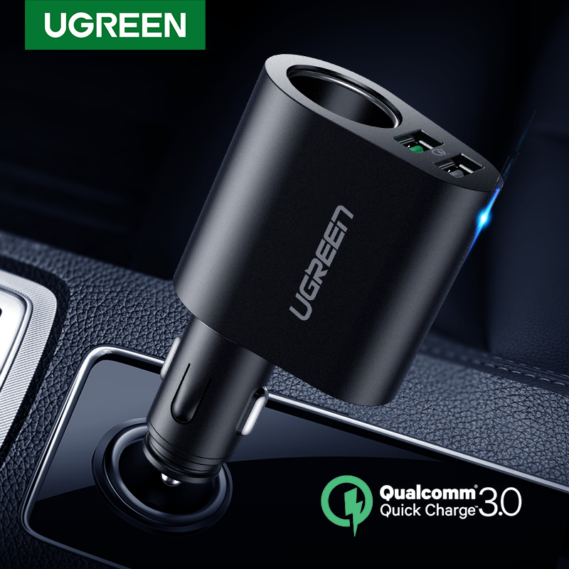 Ugreen Car Charger Adapter 60W Dual USB Quick 3.0 Charge USB Charger for iPhone X 8 Samsung Galaxy S9 S8 LG V20 USB Car Chargercharger for iphonecharger forcharger charger -