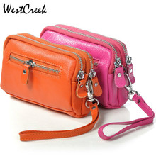 Double Zippers Women Wristlet Wallets Fashion Soft Leather Ladies' Day Clutches Clutch Bags Organizer Purse Phone Bag