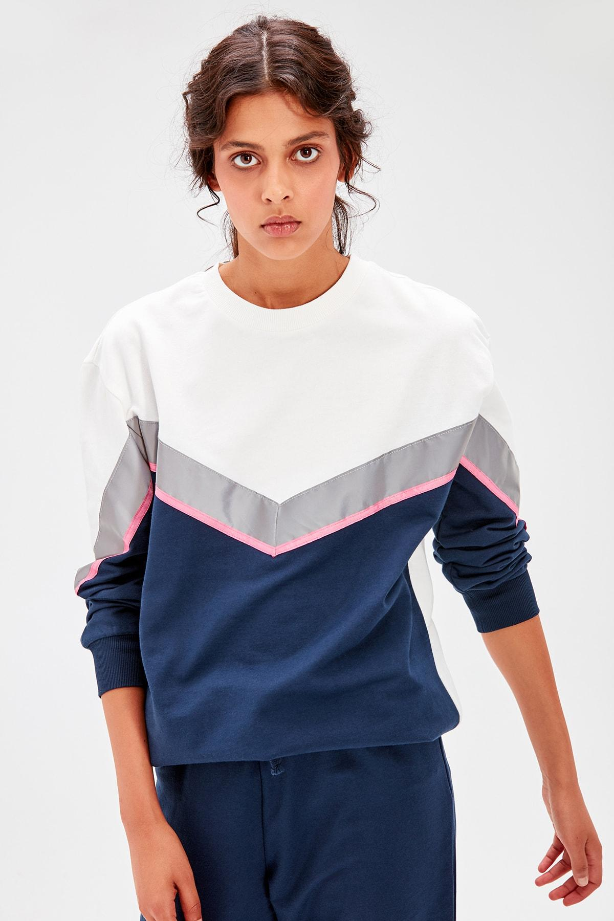 Trendyol Navy Blue Reflector Detaylı Knitted Sweatshirt TWOAW20SW0028