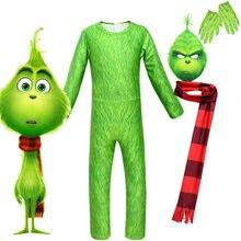 2020 novo halloween grinch natal crianças traje cosplay cabelo verde monstro macacão traje crianças dia das bruxas menina menino