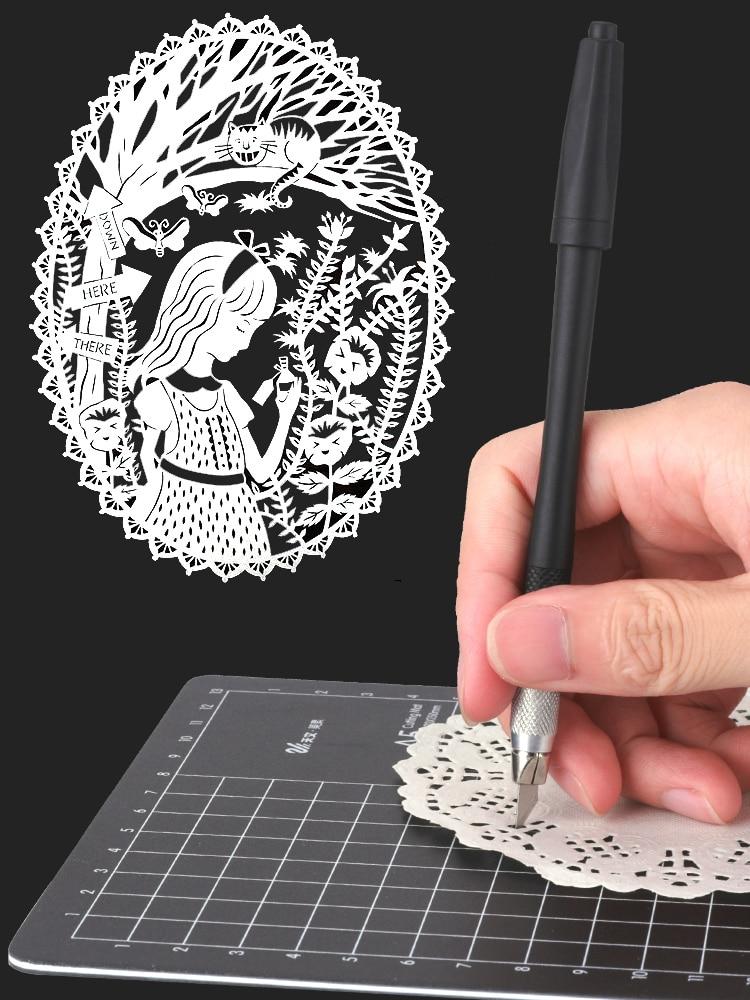 Metal 8 Blades Craft Knife A5 Cutting Mat Patchwork Cut Pad Set Paper Cutter PVC Cutting Board DIY Tools