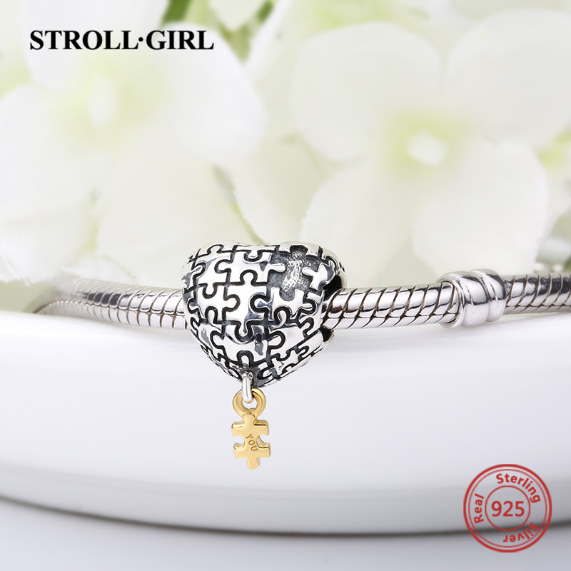 Charms Silver 925 Puzzle Love Heart Beads My Heart Is Incomplete Without You Fit Pandora Original Bracelet Jewelry Lover's Gift
