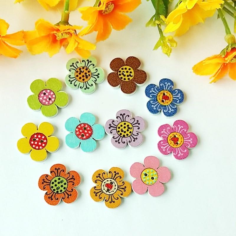50 unidades/pacote scrapbooking suprimentos 20mm flor forma a granel scrapbooking flores pintura botões de madeira butones decorativos
