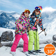 Children Ski Suit -30 Degree Boys Girl Clothing Set Kids Snowboard Waterproof Outdoor Sports Jacket Pants Clothes Snowsuit Teen(China)