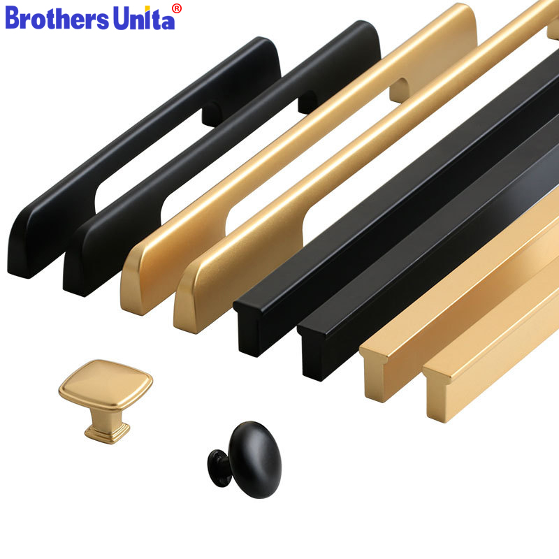 Черного и золотого цвета ручка кухонного шкафа алюминиевый Кухня ящика Дверная ручка для шкафа мебели ящика тяг оборудования Бар Ручка