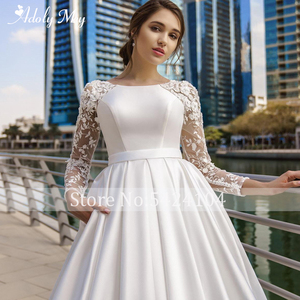 Image 5 - Adoly Mey New Arrival Scoop Neck Button Satin A Line Wedding Dresses 2020 Full Sleeve Appliques Court Train Vintage Wedding Gown