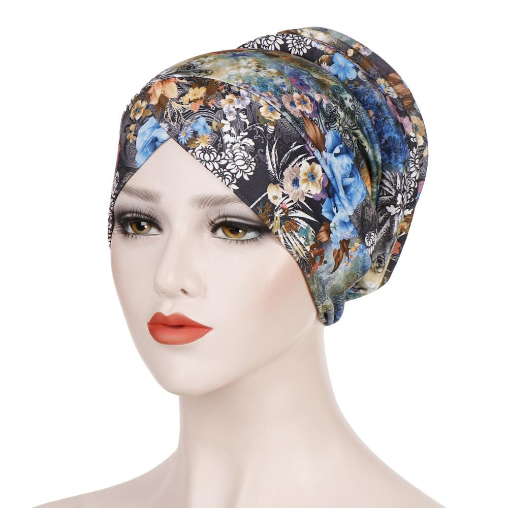 New Fashion Print Ladies Hijab Caps Leopard Muslim Cotton Indian Bonnet Islamic Headdress Women Turban Hijabs Ready To Wear