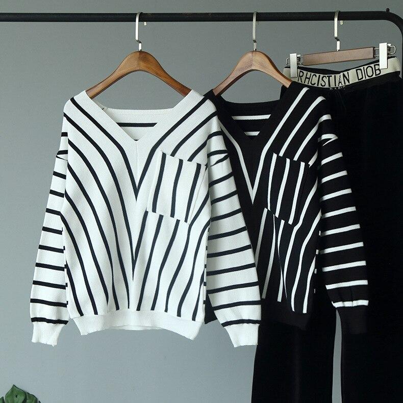 Mooirue Winter 2019 Kintting Tops V Neck Striped Casual Streetwear Basic Harajuku Elastic Sweater Feminino Korean Style Pullover