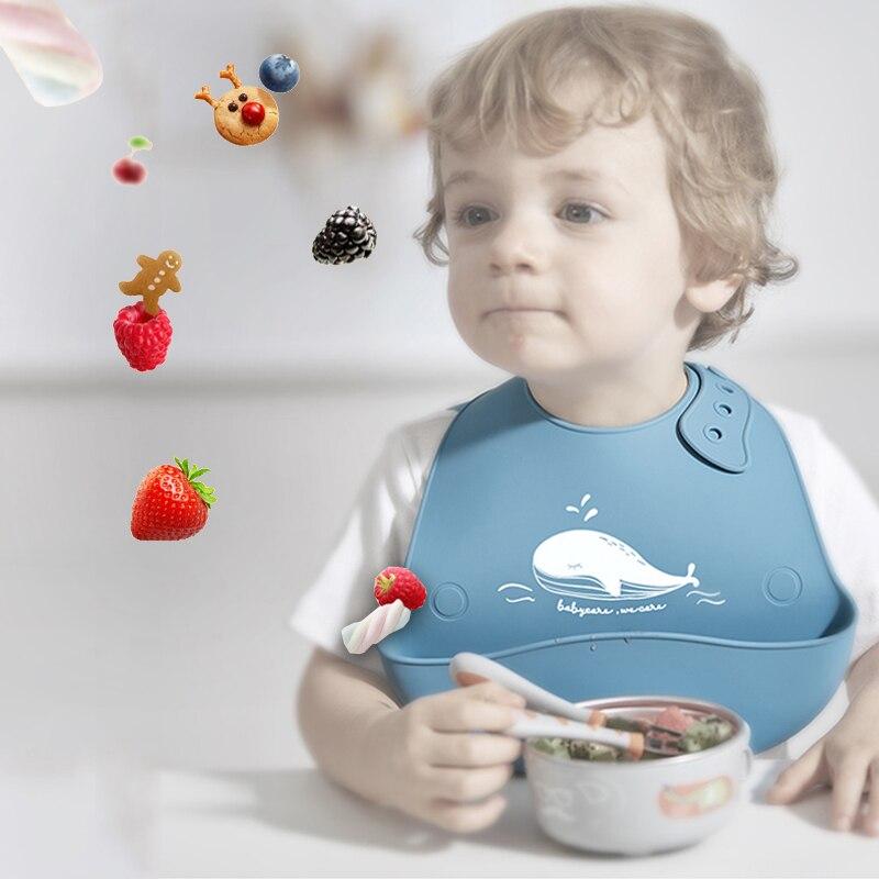 Fashionable Baby Bib Adjustable Animal Picture Waterproof Saliva Dripping Bibs Soft Edible Silicone Ssaliva Towel Dropshipping