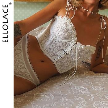 Ellolace Ruffle Lingerie Bra Set White Floral Women's Underwear Set White Lace up Underwire Female Lingerie Set Sexy Bra Set contrast lace floral lingerie set
