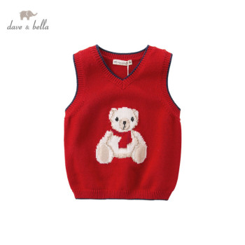 DB15992 dave bella autumn kids unisex cartoon bear print coat children fashion sleeveless vest image