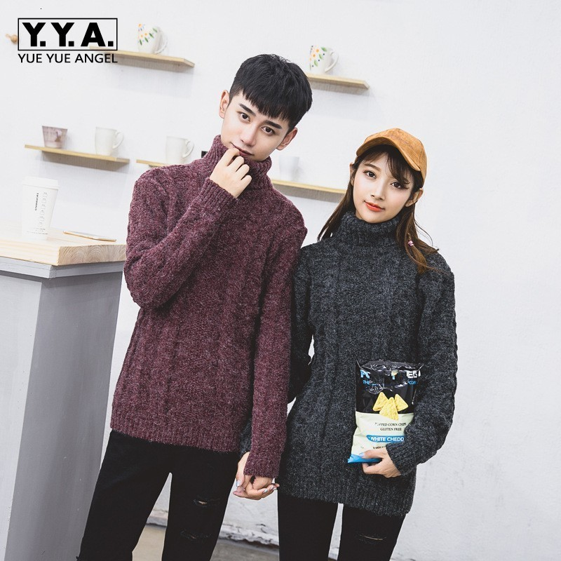 Winter Warm Mens Womens Turleneck Lovers Thicken Knitted Sweater Slim Fit Hombre Tops Korean Long Sleeved Casual Pullover S-2XL