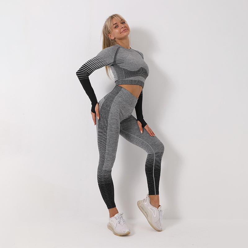 Women Sports Clothing Seamless Yoga Set Long Sleeve Sport Set Women Ombre Legging set High Waisted