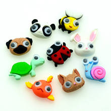 20PCS Mixed Resin Animals Cat Panda Fish  Cabochons Scrapbooking Crafting Miniatures Hair Clips Decoration Parts