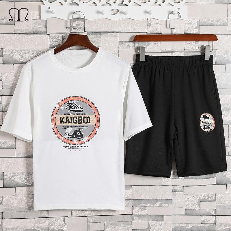 2 Pieces Mens Sets Hip Hop Short Sleeve Tshirt Shorts Casual Tracksuit Set Men Sweat Suit Summer Brand Patchwork Sportswear Male