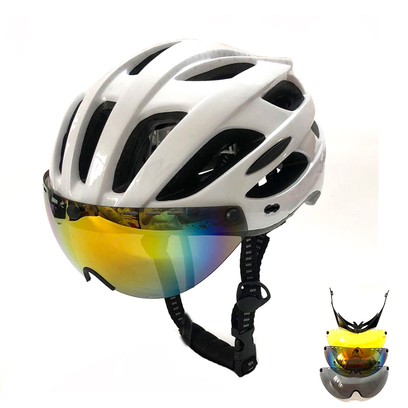 Mens Adults casco ciclismo bici Hat Visor Grey Glasses Ultralight In-molded Cycling Helmet MTB Road Mountain Bike Helmet Bicycle image