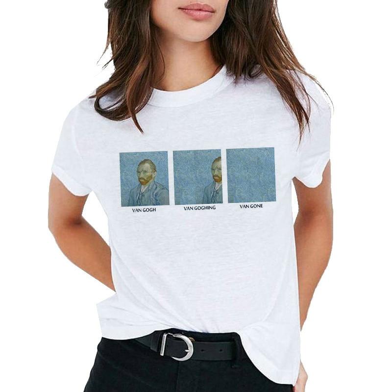 Van Gogh Oil Art Women T Shirt Print T-shirt Female Top Casual New Streetwear Tshirt Graphic Tee Shirts Harajuku Femme 2019