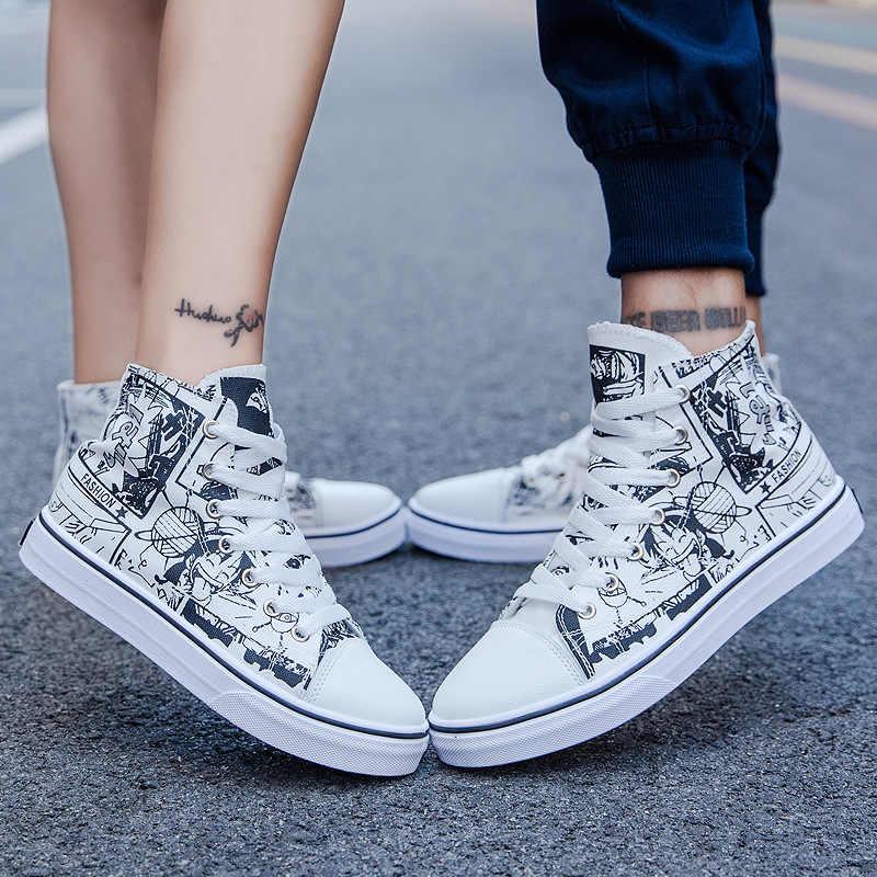 Онлайн; Лидер продаж; обувь для скейта для пар; модная парусиновая обувь с высоким берцем; повседневная обувь с граффити для мужчин и женщин