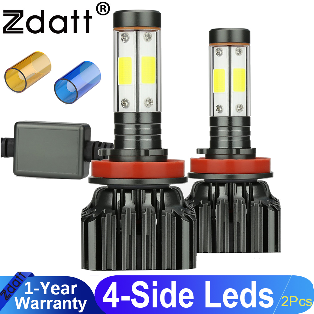 Zdatt 1Pair H8 H11 <font><b>Led</b></font> Lamp Bulb 100W 12000LM Car <font><b>Led</b></font> <font><b>Headlight</b></font> 12V Super Bright Auto Lamp Kits <font><b>360</b></font> Degree 4 Sides Lighting image