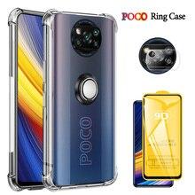 X3 פרו מקרה, מתכת טבעת קאפה Poco X3 פרו נגד הלם כיסוי עבור Xiaomi Pocophone F3 סיליקון X 3 M3 F3 F2 מקרה Pocco Poko Poco X3 Covers Poco X3 Pro Cover Pocophone F3 Poco F3 Case