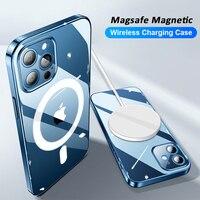 Original Magsafe magnético funda de carga inalámbrica para iPhone 11 12 Pro MAX mini XR XS MAX X 7 8 Plus SE 2020 accesorios de la cubierta funda movil fundas transparente carcasa estuche case cover