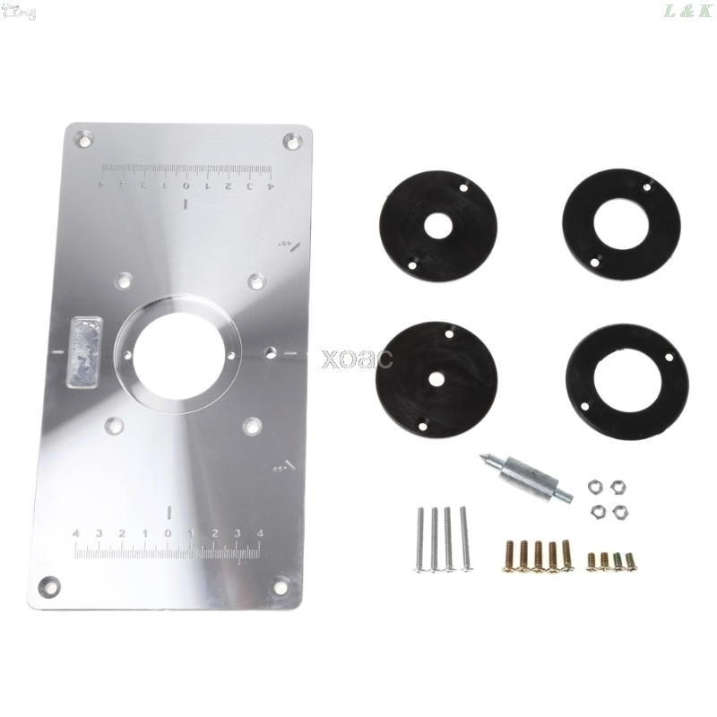 Aluminum Router Table Insert Plate W/ 4 Rings Screws For Woodworking Benches M03 Dropship