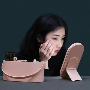 New USB Charging Cosmetic Storage Box Organzier for Makeup with Mirror LED Lights Portable Container Makeup Tool Dropshipping