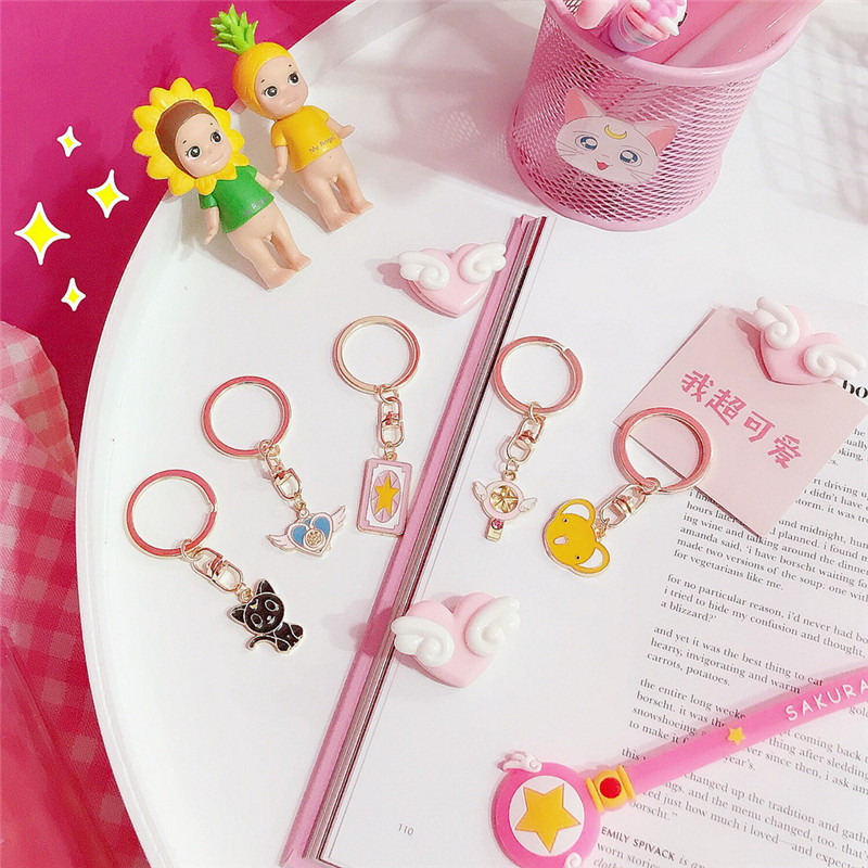Anime Sailor Moon Keychain Cosplay KINOMOTO SAKURA Keyring Key Chain Pendant Accessories Card Captor SAKURA