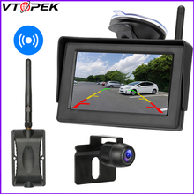 цена на Vtopek 4.3 Inch Wireless Backup Camera Kit Rear View Reverse Car Monitor Night Vision Waterproof Parking Cam Guide Lines Camera