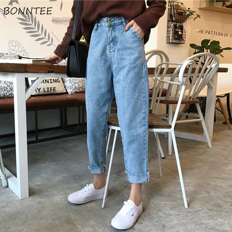 Jeans Women Solid Trendy Elegant All-match High-quality Korean Style Harajuku Leisure Daily Womens Female Lovely Simple Retro