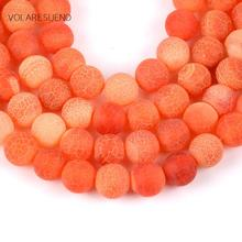 Natural Matte Frost Cracked Orange Stone Round Loose Beads For Jewelry Making 4-12mm Spacer Fit Diy Bracelet Necklace 15""
