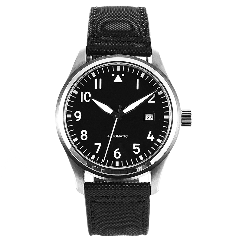 New 42mm Black Pilot Watch 5ATM MIYOTA Automatic Domed Sapphire Crystal Full Luminous Canvas Leather Strap