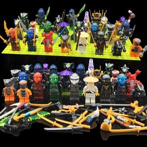 24pcs/lot Ninja Set Mini Building Blocks Figure Doll Action figures building toys for Kids Collecting fun bricks figures gifts
