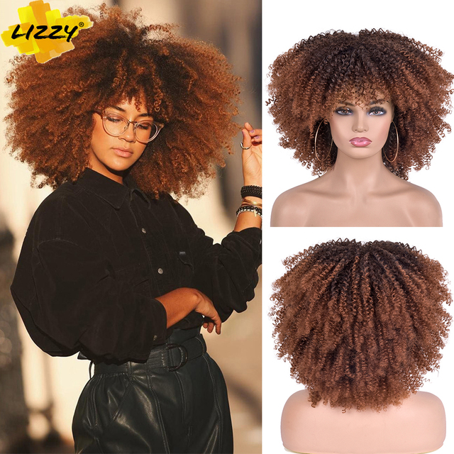 Short Hair Afro Kinky Curly Wigs With Bangs For Black Women African Synthetic Omber Glueless Cosplay Wigs High Temperature Lizzy 1