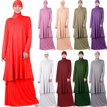 Skirts Jilbab Prayer Scarf Abaya-Dress Hijab Hooded Oversized Two-Pieces-Set Islamic