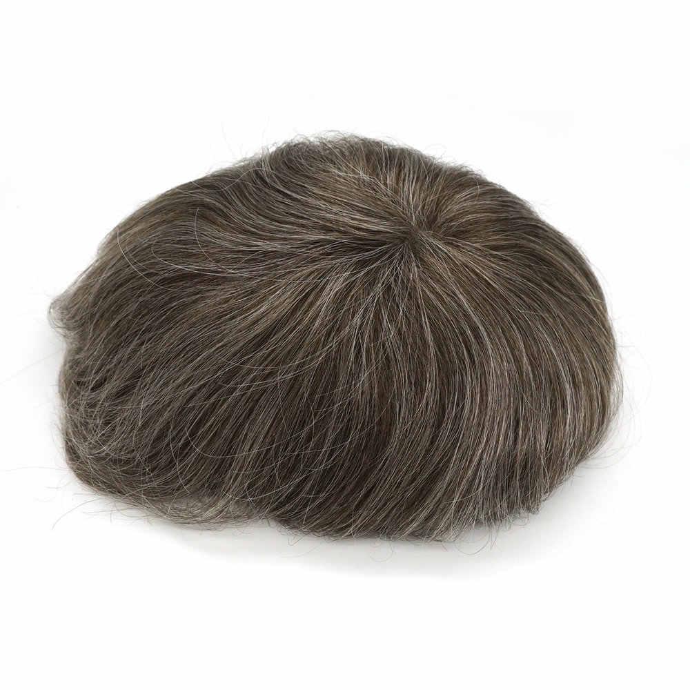 Großen Rabatt Räumung Hstonir Perücke Für Männer Grau Menschliches Haar Perücke Männer Haarteil Super Dünne Haut Indisches Remy Haar h078