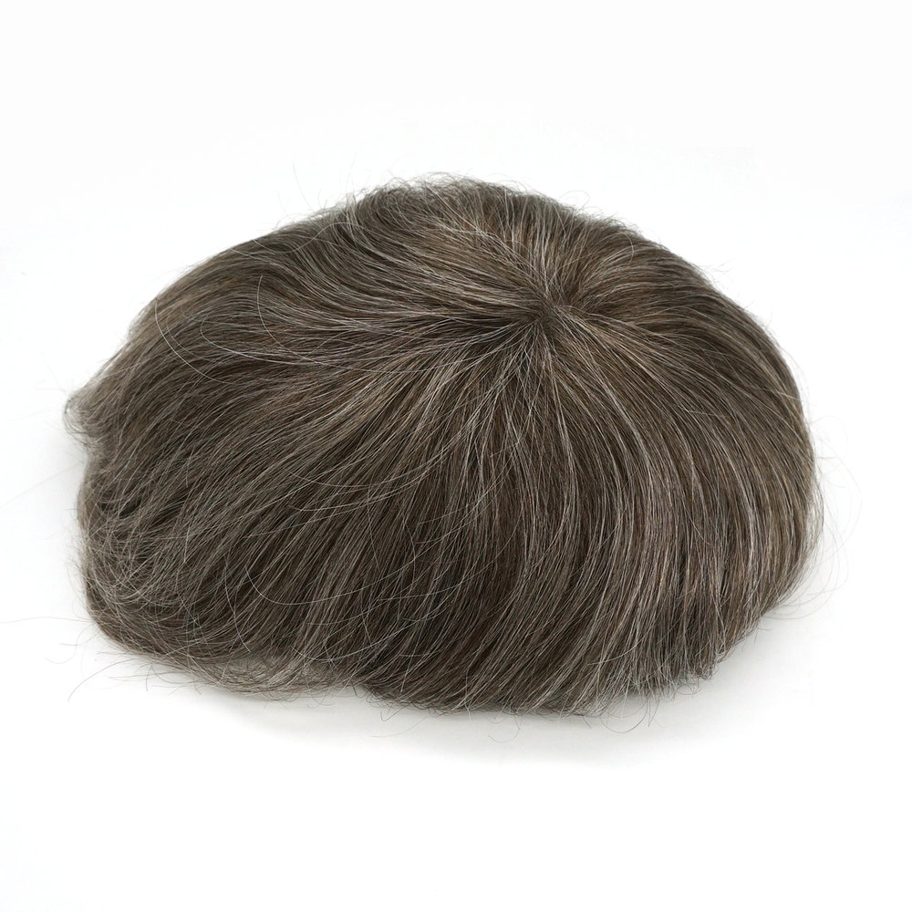 Hstonir Wig For Males Gray Human Hair Wig Men Hairpiece Super Thin Skin Indian Remy Hair H078
