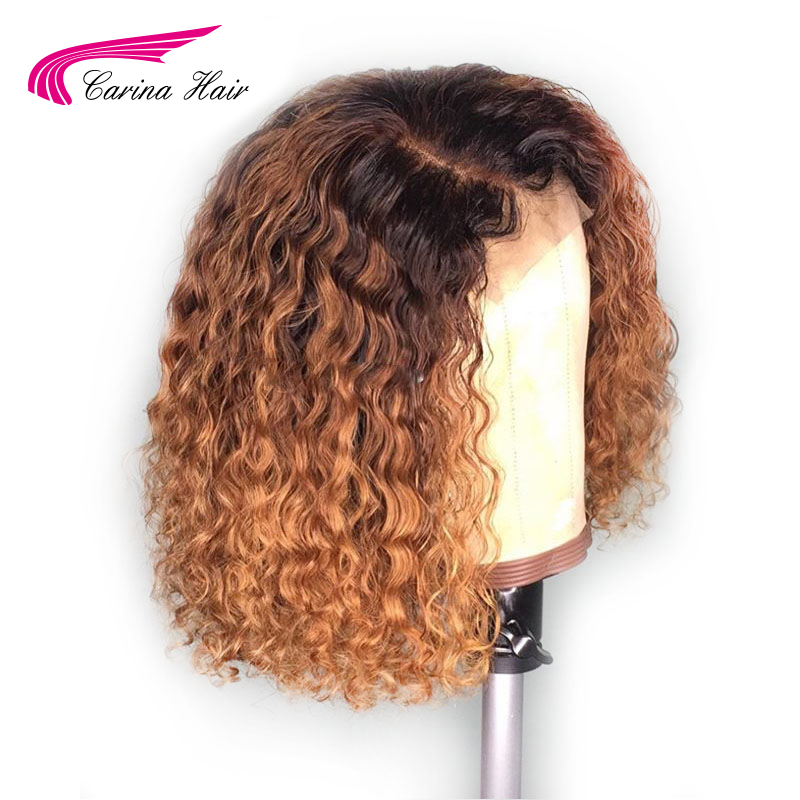 Carina Ombre Color Lace Front Human Hair Wigs 13*3 Lace Brazilian Curly Remy Hair Pre Plucked