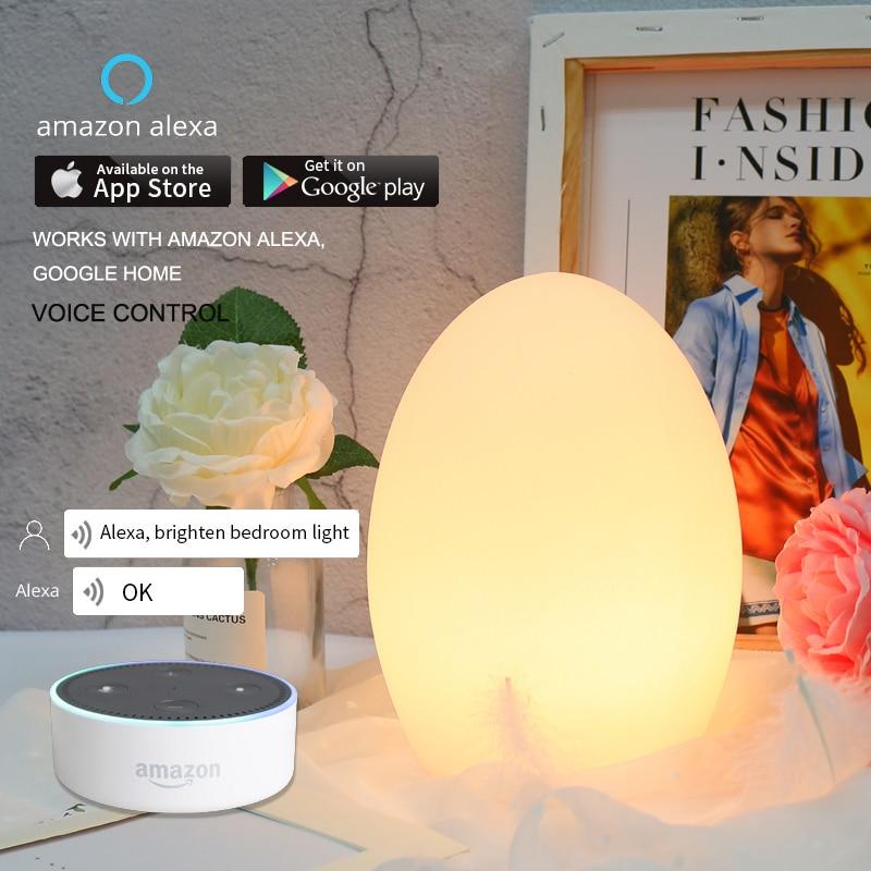 egg shape wifi smart table light MP APP control RGB LED baby room bedside lamp Xmas light works with alexa google home kids gift
