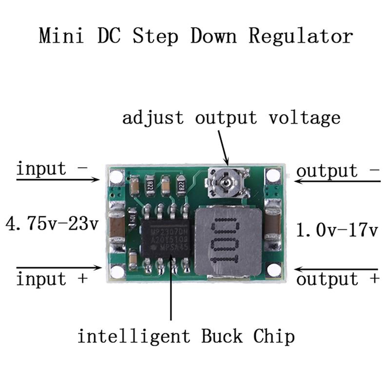 Один или 5 шт., 3 А, мини-понижающий преобразователь, регулятор напряжения 5 в-23 в до 3,3 В, 6 в, 9 В, 12 В, 340 кГц