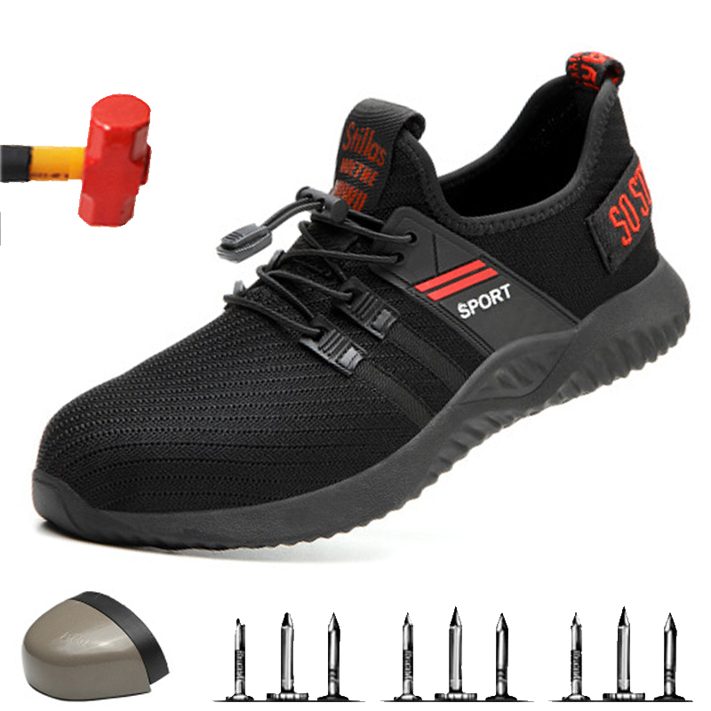High Quality Safety Shoes With Steel Toe Safety Men Work Shoes Unisex Breathable Air Mesh Work Shoes Plus Size 36-46 Rubber