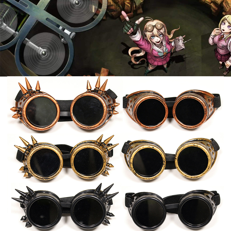 Danganronpa V3 Iruma Miu Cosplay Glasses Prop Gothic Cosplay Rivet Steampunk Goggles Glasses Welding Punk