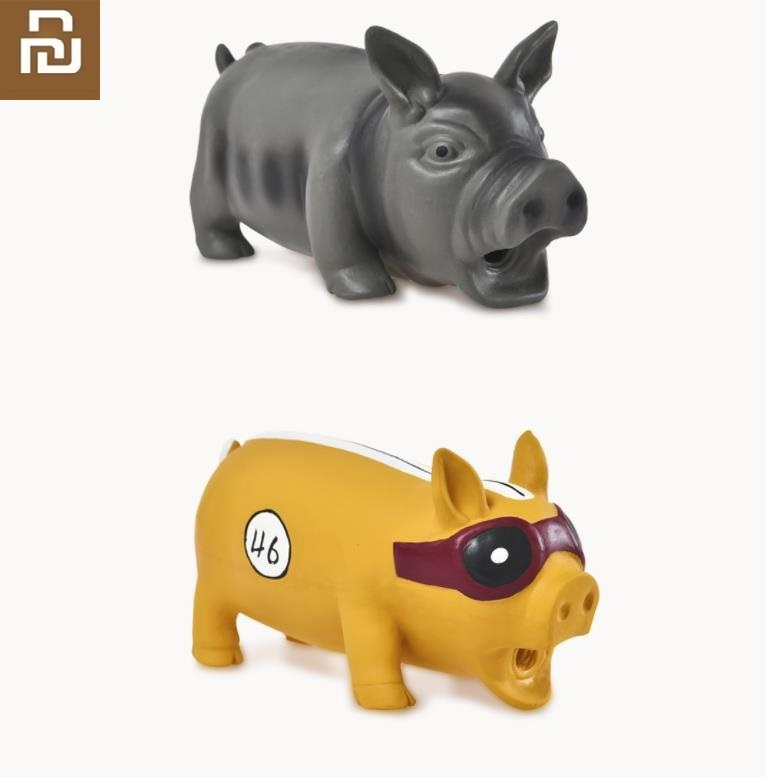 Youpin New Cute Pig Grunting Squeak Latex Pet Chew Toys for Dog Squeaker Chew Training Pet Products(China)