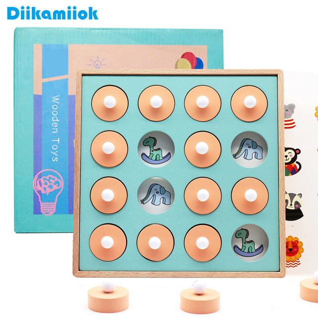 Hot Kids Wooden 3D Puzzle Memory Match Chess Baby Early Educational Toys for Children Thinking Training Family Party Casual Game